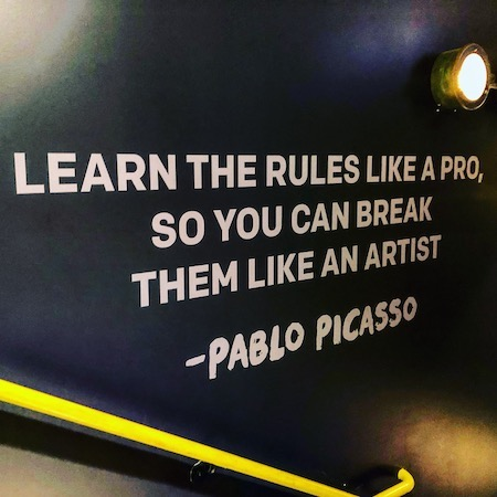 top-10-career-advice-sketches-and-photos-quote-on-wall-from-Picasso-about-learning-rules-and-break-them-like-artist